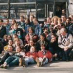 1995: Jugendgruppe aus Zywiec vor der 30 stündigen Rückfahrt per Bus nach Polen