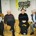 Ehemalige MitarbeiterInnen erzählen 2004 aus 40 Jahren Geschichte der Jugendakademie: v.l.: Irene Groß, Alex Groß, Peter Rottländer, Christa Fußhöller