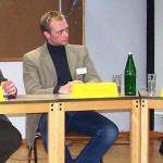 "Fachtagung Januar 2006: ""Auslaufmodell Bildungshaus?"" Podium: Christian Linker (BDKJ Vorstand Köln), Christian Lindner (FDP, MdL NRW). Valeria Aebert"