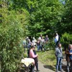 Gäste des Frühjahrsfestes bei strahlendem Sonnenschein im Garten der Jugendakademie