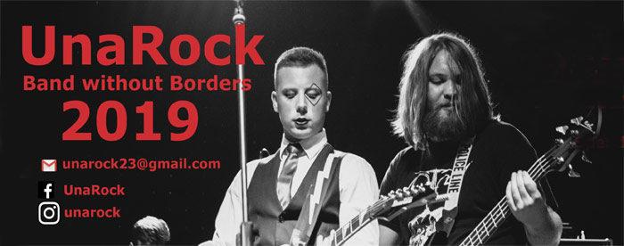 UnaRock Konzert 2019: Konzertplakat mit 2 Gitarristen